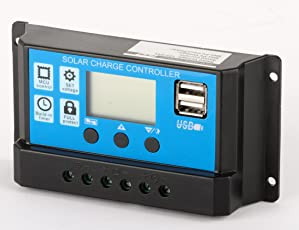 Sparkel 12V/24V 10A Solar Charge Controller with 5V USB Mobile Charging