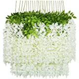 U'Artlines Lot de 24 Artificielle Fleurs Faux Wisteria Vigne Soie Fleur Suspendue Guirlande pour la Maison Jardin Partie De M