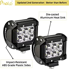 Pivalo 6 Led Fog Light/Work Light Bar Spot Beam Off Road Driving Lamp 2 Pcs 18W Cree - Universal Fitting Hence Good Fit On All Bikes And Cars