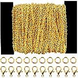 Siumir 39,4 Pies Cadena Chapada en Oro Cadena de Eslabones Metálicos 30 Cierres de Langosta 100 Anillos de Salto, para Fabric