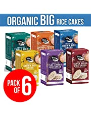 Wise Crack Organic Big Size Rice Cakes Brown Rice, Flax Lovers, Quinoa Power, Super Seeds, Triple Rice, Pepper and Spice Wholegrain Crackers Crispy Healthy Snacks (105 gm Each)