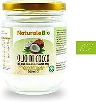 Olio di Cocco Biologico Extra Vergine 200 ml | Crudo e Spremuto a Freddo | Organico e Puro al 100% | Ideale sui Capelli,...