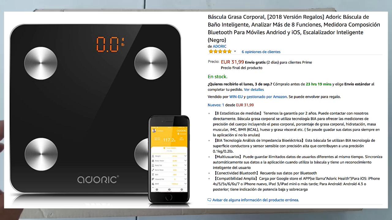 Báscula Grasa Corporal Bluetooth Más de 8 Funciones, Báscula Analógica Monitores de composición corporal Para Móviles Andriod y iOS (Negro) (No bluetooth): ...