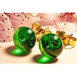 Orecchini Verde smeraldo in vetro di Murano, Creazioni Pireta, placcato in oro 18k, anallergico, fatto a mano, hand made, Mad