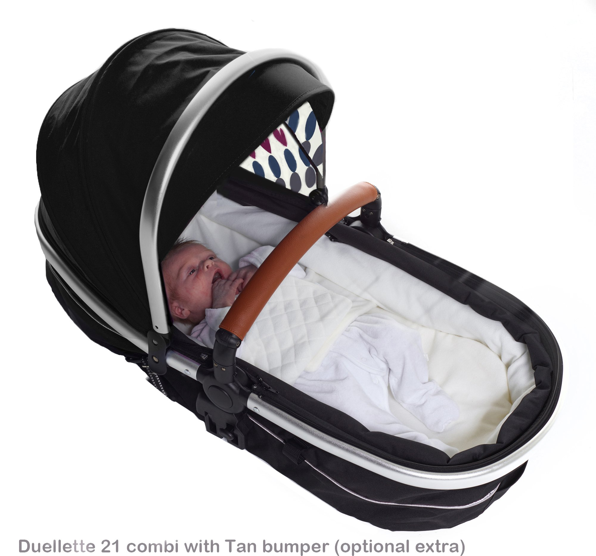 Duellette 21 BS combi Double Pushchair Twin Tandem complete carrycot/converts to seat unit. Free rain covers and 2 free Black footmuffs. Midnight Black by Kids Kargo Kids Kargo Demo video please see link https://www.youtube.com/watch?v=5L8eKWGqoso Various seat positions. Accommodates 1 or 2 car seats Carrycot converts to seat unit incl mattress. Toddler seat from 6 months 6