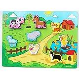 TOWO Puzzles Animaux en Bois - Puzzles de Shinnington Farm Animals Taille Chunky - Puzzle en Bois pour enfant de 18 Mois et P