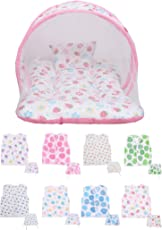 Baby Fly New Born Baby Combo Pack of 1 Pink Strawberry Print Mosquito Net Bed/Toddler Mattress & 8 Baby Jhabla/Vest with 8 Nappies(0-8 Months)