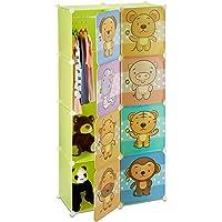 Relaxdays Étagère rangement enfants casier modulable plastique animaux penderie armoire tringle, coloré