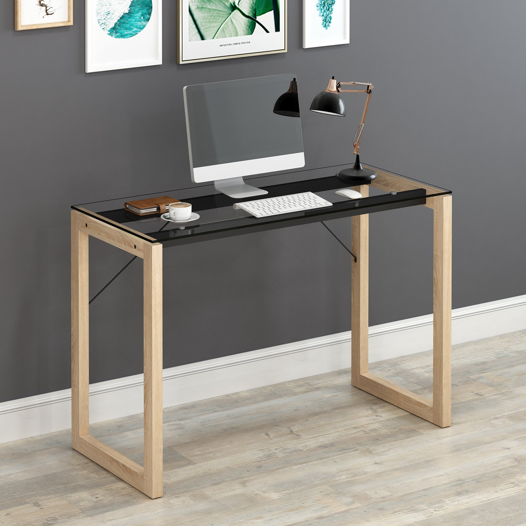 elegant clear tempered glass top computer desk wood frame writing rh ebay co uk glass writing desk ikea glass drawing desk