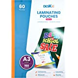 Deskit A3 lamineringspåsar, glansiga, 60 ark, 150 mikron – klara och hållbara presentationer – idealisk styvhet för daglig an