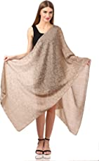 Pashtush Women's Wool Self Reversible Stole Floral Jacquard Design, Silk-Pashmina, Scarfs, Shawls, Stoles, Wraps (size 28 x 80 inches)