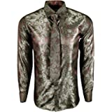 Dominic Stefano Mens Shiny Paisley Silk Feel Smart Casual Dress Formal Wedding Casual Shirt with Tie & Cufflinks Easy to Iron