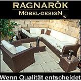 Ragnarök-Möbeldesign PolyRattan - DEUTSCHE Marke - EIGNENE Produktion - 8 Jahre Garantie Lounge Garten Möbel Glas Polster BRAUN Rostfrei Sofa