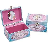 Lucy Locket Portagioie 'Ballerina' (portagioie, carillon musicale, scatola regalo per bambini) - Rosa e celeste…