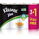 KLEENEX VIVA Calorie Absorb, Premium Oil Absorbing - Pack of 4 Kitchen Towel Roll, 55 Tissues