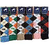 6 Pairs Women's/Ladies knee High Horse Design Argyle Rich Cotton Equestrian Riding Boot Socks,Christmas Gift Socks,Uk Size 4-
