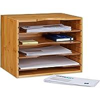 Relaxdays Corbeille à courrier en bambou organiseur de bureau porte-document papier range-documents avec tablettes…