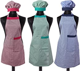 Yellow Weaves™ Cotton Kitchen Apron With Cap Combo Set of 3 - Multi
