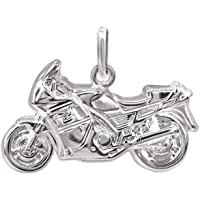CLEVER SCHMUCK Silver Motorbike Pendant 23 x 13 mm on Both Sides Plastic Shiny 925 Sterling Silver