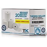Rollos de papel térmico 80 mm x 80 mm x 12 mm x 48 g – Certificado para impresoras de caja como Epson, IBM, Metapace, etc. –
