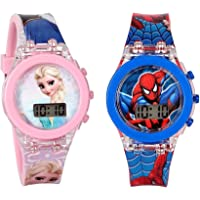 SQUIRRO Spiderman and Princess Digital Watches Combo for Kids Boys & Girls (Pack of 2)