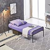 Cadre de lit en métal H.J WeDoo pour Adultes et Enfants avec 6 Pieds en Métal et Sommier Intégré (Lit 1 Place) 90x190cm - Noi