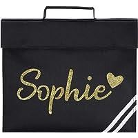 Personalised Girls Glitter Heart Name School Book Bag PE Childrens Gift, Black/Gold Glitter Print