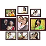 Amazon Brand - Solimo Collage Photo Frames, Set of 9,Wall Hanging (6 pcs - 5x7 inch, 3 pcs - 8x10 inch),Brown