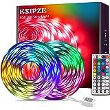 Ksipze Tira de Luces LED 15M RGB que Cambia de Color 5050 Luces LED Flexibles con Control Remoto IR de 44 Teclas y Caja de Co