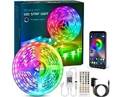 Ruban LED 6M Bande LED RGB Multicolore App Contrôle, Led Ruban avec Télécommande à 40 Touches, Synchroniser avec Rythme de Mu