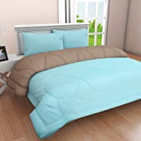 Clasiko Reversible Double Bed King Size Comforter/Duvet for Summers/Ac; Color - Ablaze Aqua & Glowing Grey; Fabric - Micro Cotton; 300 GSM; Size - 230x254 Cms; Color Fastness Guarantee
