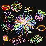 Yidaxing Braccialetti Luminosi, 440 PCS Glow Sticks Bagliore Colorato Bastoni Bulk con Connettori per Farfalla e Collana Bagl