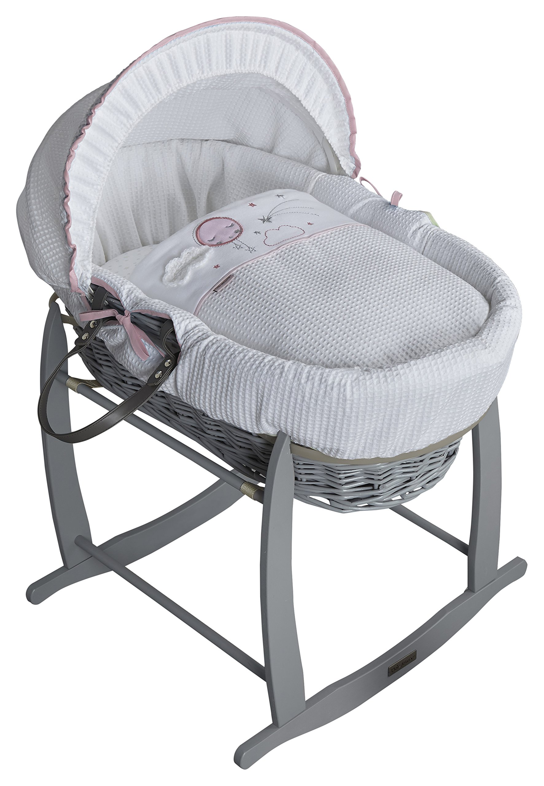 Clair de Lune Wicker Moses Basket, Pink/Grey, Over The Moon Clair de Lune Made from 100% super soft cotton fabric, featuring star prints and a sleepy moon with crocheted cloud appliqué for the perfect finishing touch. Comes complete with a removable, adjustable hood, padded liner, coverlet, 2 carry handles, and a mattress. *stand sold separately. Adjustable hood that's perfect for creating a cosy sleeping space for your precious little one. 1