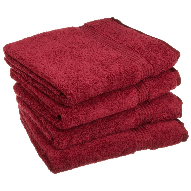 Superior - Set di asciugamani da bagno, cotone egiziano, bordeaux, 4 pezzi