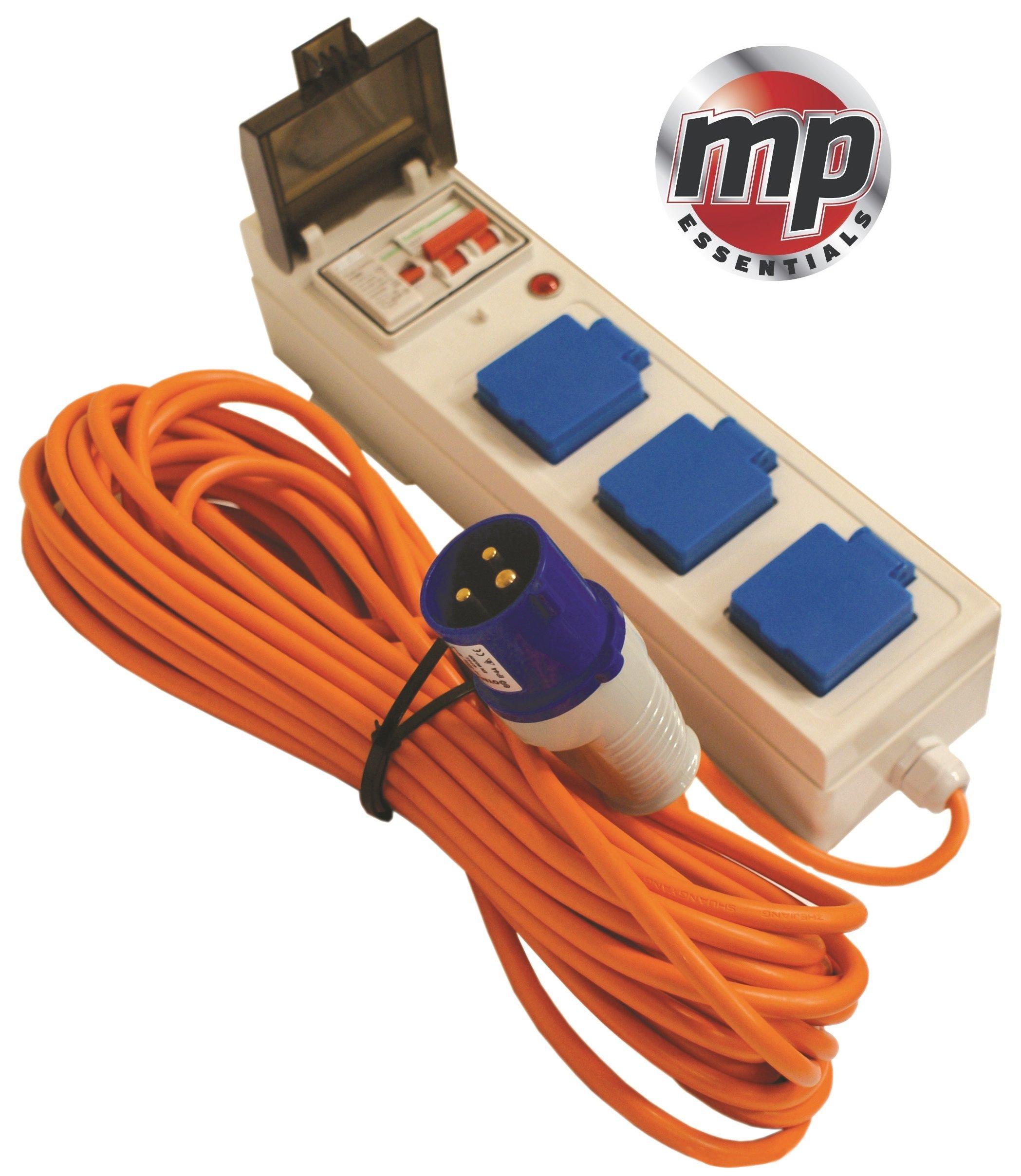 MP Essentials 3 Way Mobile Mains Unit Caravan Motorhome Campsite Power Hook Up RCD Cable Lead 1