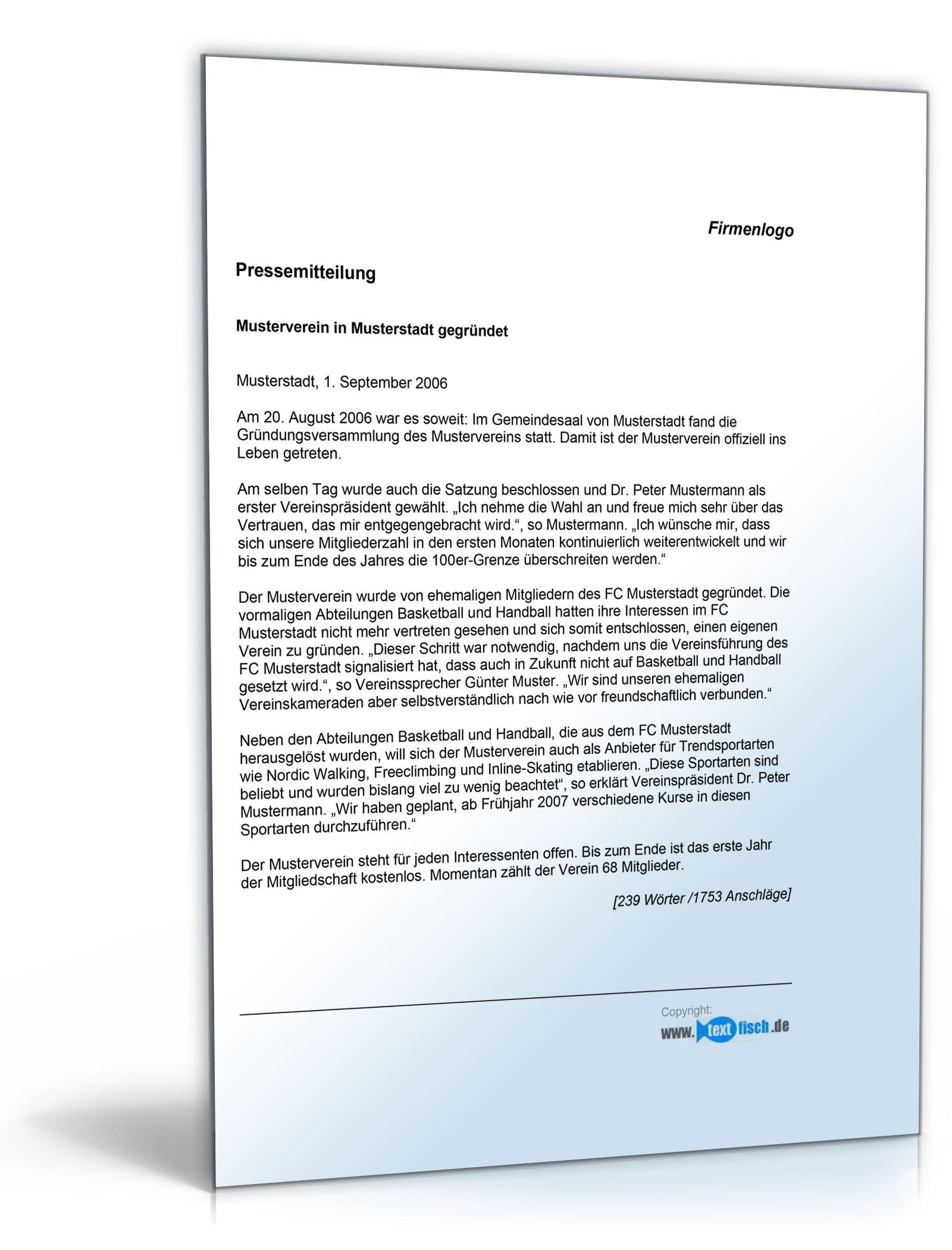 Pressemitteilung Bekanntgabe einer Vereinsgründung (Sportverein)  (Österreichisch) [PDF Download]