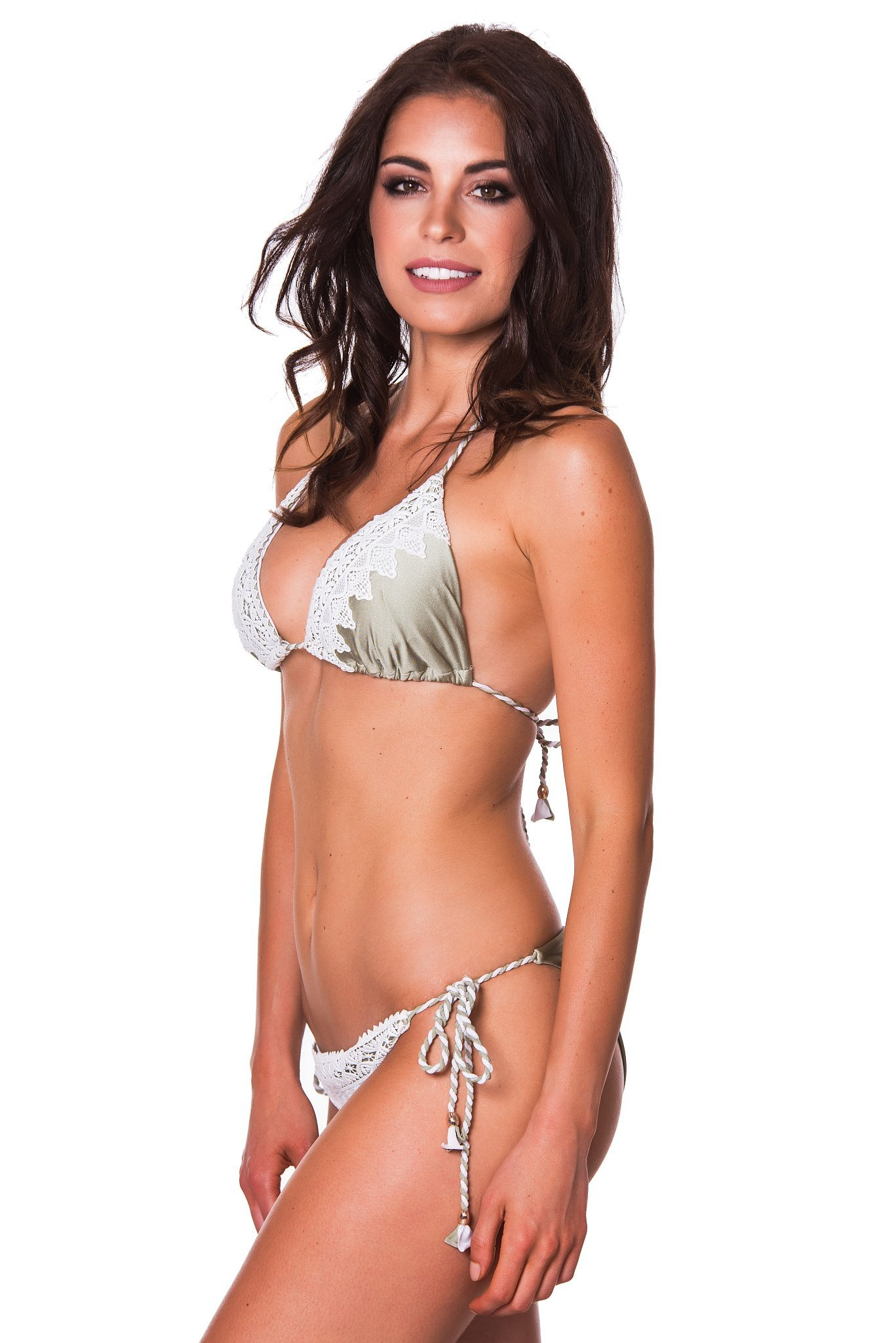 RELLECIGA Damen Bademode Triangel Bikini Set Unterteil im Brasil Style  Spitze Crochet 6386cfdeab