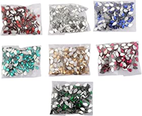 Am Drop Shape Crystal Edged Stones/Kundans For Jewellery Making/Decorating & Crafts. Pack Of 700 Stones (7 Colors)