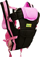 Babygo Soft Adjustable 4-in-1 Baby Carrier with Comfortable Head Support and Buckle Straps (Black/Pink)