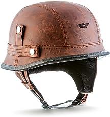 "MOTO · D33""Leather Brown"" (Brown) · Jet-Helm Braincap Bobber Halbschalen · Roller Mofa Retro Scooter-Helm Motorrad-Helm Chopper · Click-n-SecureTM Clip · Tragetasche · M (57-58cm)"