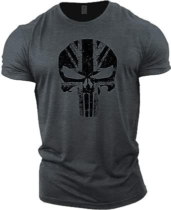 GYMTIER Mens Bodybuilding T-Shirt - Skull UK Flag - Gym Training Top
