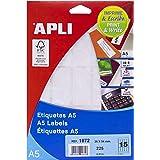 APLI 1872 - Etiquetas A5 blancas 26,0 x 54,0 mm 15 hojas