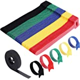VoJoPi Bridas Reutilizables, 100 Piezas Sujeta Cables, Ajustable Ataduras Cables con Nylon Gancho y Lazo, Organizador Cables