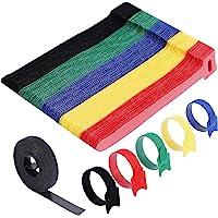 VoJoPi 100 Pcs Attache Cable, 15 cm Réutilisables Serre Cable en Nylon, Reglable Sangles Câbles à Crochet et Boucle…