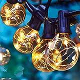 Albrillo Guirlande Lumineuse Extérieure - 11M Guirlandes Lumineuses en Cuivre avec G40 30+3 Ampoules de Rechange, Blanc Chaud