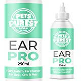 Pets Purest 100% Naturale Detergente per Orecchie per Cane (250 ML) Ferma Il Prurito, Le Scrollate & l'Odore. Raccomandato da