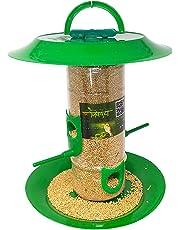Amijivdaya Medium Bird Feeder with Hut (Transparent, Green)