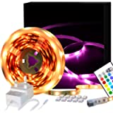 LED Strips Lights 5M, SHINELINE 16.4Ft RGB SMD 5050 Dimmer Led Strip Lights with Remote Mood Light for Home Kitchen…