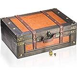 Brynnberg Caja de Madera Marco 38x27x14cm - Cofre del Tesoro Pirata de Estilo Vintage - Hecha a Mano - Diseño Retro - joyero