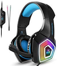 Tenswall PS4 Gaming Headset, Hunterspider Series, LED light Wired PC Gaming cuffie con microfono, jack 3.5 mm Heasdset over-ear fascia Bass stereo e cancellazione del rumore e controllo del volume per compatibilità universale like Xbox One, Nintendo switch, PC, laptop, tablet, telefono, etc. (blu)